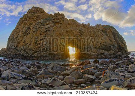 Pfeiffer Beach Keyhole Rock. Big Sur, Monterey County, California, USA.