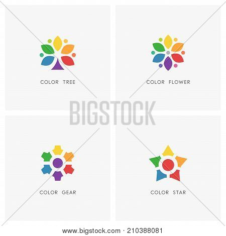 Color logo set. Colored tree and flower, gear wheel and star symbol, multicolored palette - design, art, creativity and personality icons.
