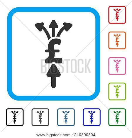 Divide Pound Payments icon. Flat gray iconic symbol inside a light blue rounded frame. Black, gray, green, blue, red, orange color additional versions of Divide Pound Payments vector.