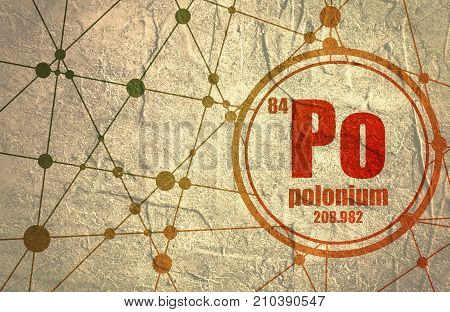 Polonium chemical element. Sign with atomic number and atomic weight. Chemical element of periodic table. Molecule And Communication Background. Connected lines with dots. Distress grunge texture