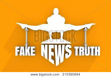 Balance between Fake and Truth. Silhouette of a man tied with the words. Fake news banner background. 3D rendering