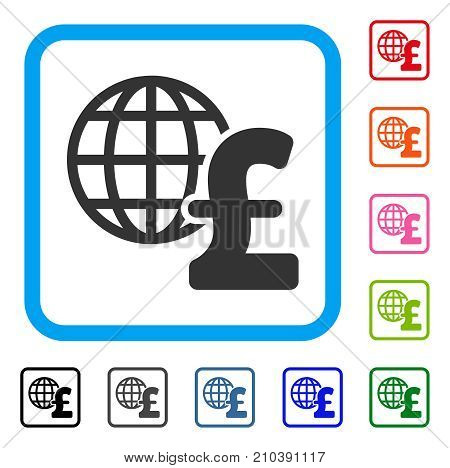 Global Pound Economics icon. Flat grey iconic symbol inside a light blue rounded squared frame. Black, gray, green, blue, red, orange color additional versions of Global Pound Economics vector.