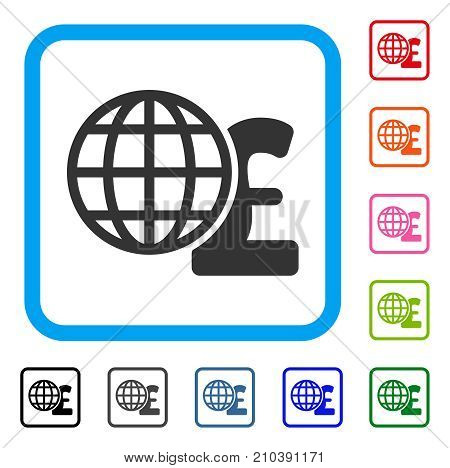 Global Pound Finances icon. Flat grey iconic symbol inside a light blue rounded square. Black, gray, green, blue, red, orange color additional versions of Global Pound Finances vector.