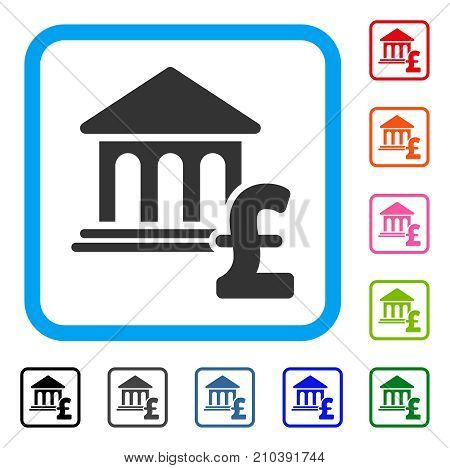 Museum Pound Payment icon. Flat gray iconic symbol inside a light blue rounded frame. Black, gray, green, blue, red, orange color additional versions of Museum Pound Payment vector.