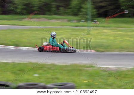 Go kart race in green Lithuania aukstadvaris
