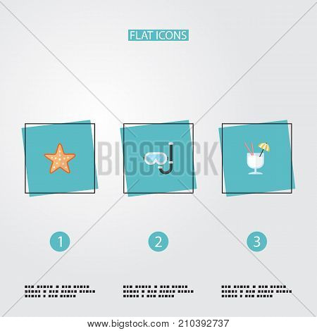 Flat Icons Drink, Aqualung, Sea Star And Other Vector Elements