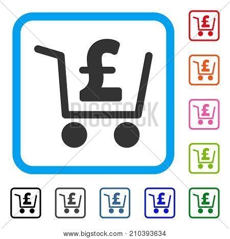 Pound Checkout icon. Flat grey iconic symbol inside a light blue rounded square. Black, gray, green, blue, red, orange color variants of Pound Checkout vector. Designed for web and software UI.