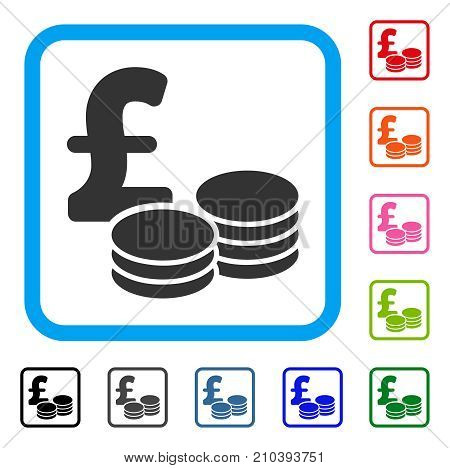 Pound Coins icon. Flat grey pictogram symbol inside a light blue rounded rectangular frame. Black, gray, green, blue, red, orange color versions of Pound Coins vector.