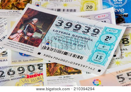MADRID SPAIN - JANUARY 28 2017: Spanish national lottery receipts. Spanish national lottery distributes many cash prizes especially at Christmas time. First prize is called Gordo, Illustrative editorial