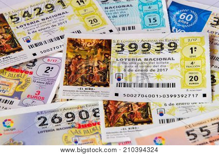MADRID SPAIN - JANUARY 28 2017: Spanish national lottery receipts. Spanish national lottery distributes many cash prizes especially at Christmas time. First prize is called Gordo. Illustrative editorial