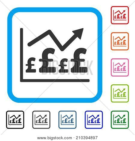 Pound Financial Graph icon. Flat grey pictogram symbol inside a light blue rounded squared frame. Black, gray, green, blue, red, orange color variants of Pound Financial Graph vector.