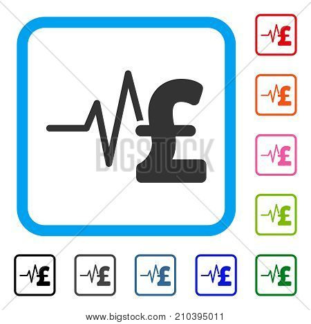 Pound Financial Pulse icon. Flat gray pictogram symbol inside a light blue rounded square. Black, gray, green, blue, red, orange color additional versions of Pound Financial Pulse vector.