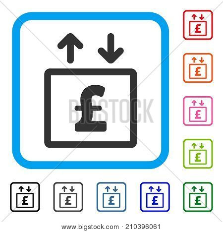 Pound Money Elevator icon. Flat gray iconic symbol inside a light blue rounded frame. Black, gray, green, blue, red, orange color versions of Pound Money Elevator vector.