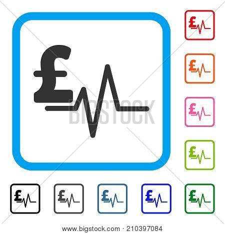 Pound Pulse icon. Flat gray pictogram symbol in a light blue rounded frame. Black, gray, green, blue, red, orange color additional versions of Pound Pulse vector.
