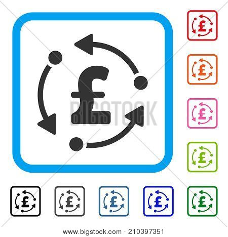 Pound Rotation icon. Flat gray pictogram symbol inside a light blue rounded rectangular frame. Black, gray, green, blue, red, orange color versions of Pound Rotation vector.