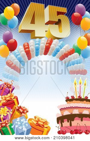 Background with design elements and the birthday cake. The poster or invitation for forty-fifth birthday or anniversary.