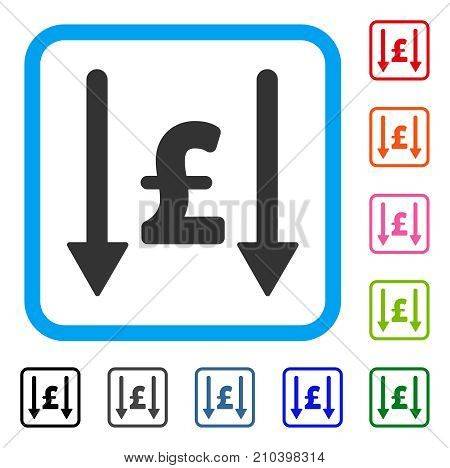 Receive Pound icon. Flat gray pictogram symbol inside a light blue rounded squared frame. Black, gray, green, blue, red, orange color additional versions of Receive Pound vector.