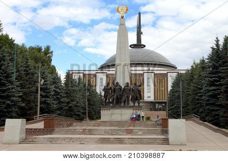 Moscow Russia - July 19 2017: Monument at Poklonnaya Hill dedicated to the cooperation of the countries participating in the Anti-Hitler Coalition.
