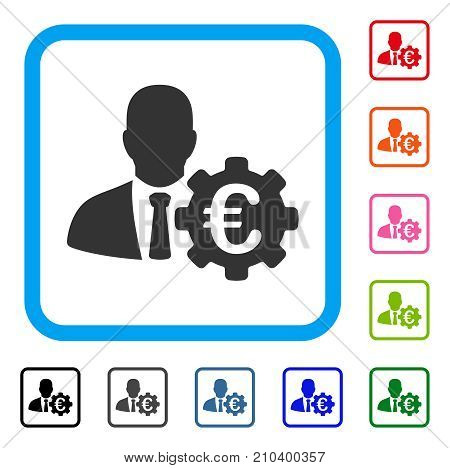 Euro Economist icon. Flat grey pictogram symbol inside a light blue rounded square. Black, gray, green, blue, red, orange color versions of Euro Economist vector. Designed for web and software UI.