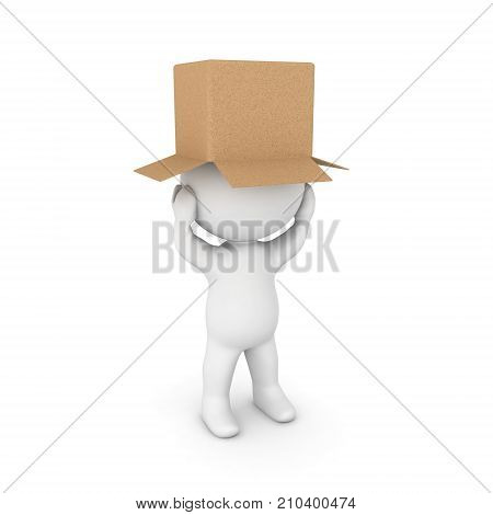 3D Character distressed with a cardboard on his head. Isolated on white.