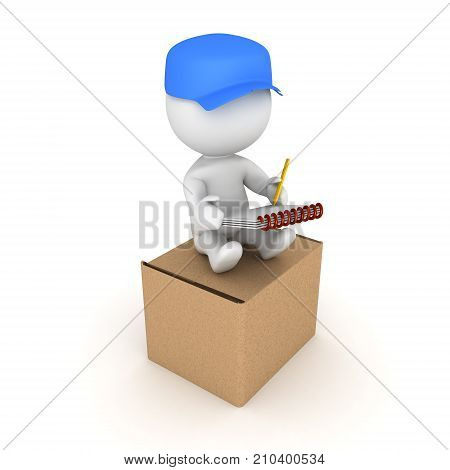 3D Delivery man sitting on top of new package. Isolated on white.