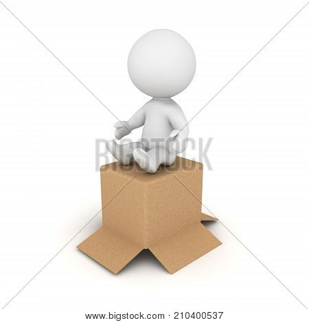 3D Character sitting on cardboard box. Isolated on white.