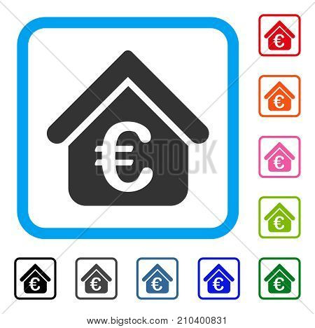 Euro Loan Real Estate icon. Flat gray iconic symbol in a light blue rounded square. Black, gray, green, blue, red, orange color additional versions of Euro Loan Real Estate vector.