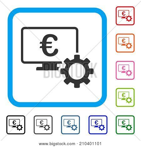 Euro Online Bank Configuration icon. Flat gray iconic symbol inside a light blue rounded squared frame. Black, gray, green, blue, red, orange color variants of Euro Online Bank Configuration vector.
