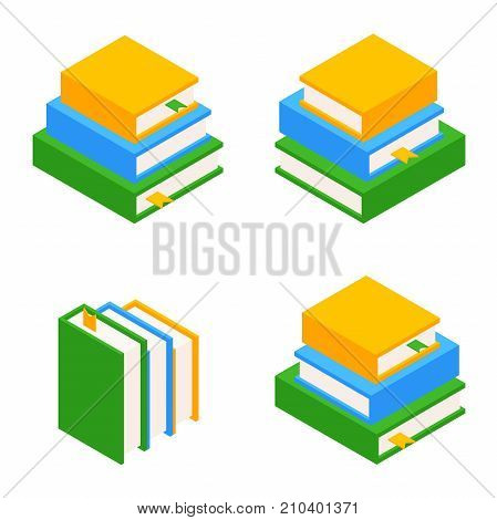 Set of books. Books stacked in a pile. The educational concept. A stack of books. Vector illustration isolated from background