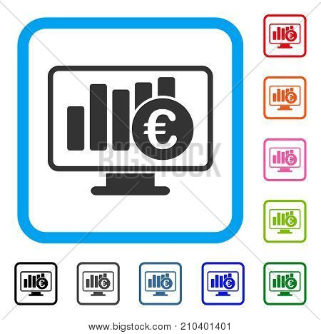Euro Stock Market Monitoring Icon Flat Gray Iconic Symbol Inside A Light Blue Rounded Rectangle