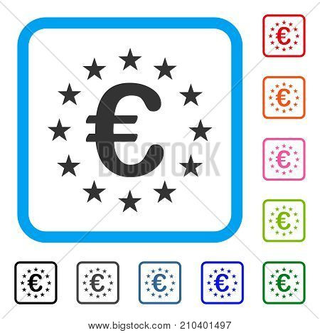 Euro Union Stars icon. Flat gray iconic symbol in a light blue rounded squared frame. Black, gray, green, blue, red, orange color versions of Euro Union Stars vector. Designed for web and software UI.