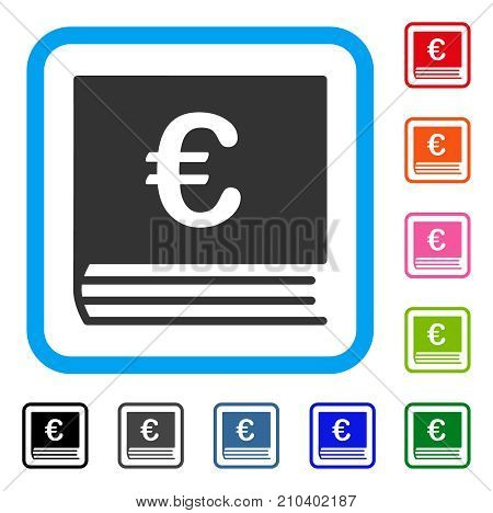 Euro Bookkeeping icon. Flat grey pictogram symbol inside a light blue rounded rectangle. Black, gray, green, blue, red, orange color variants of Euro Bookkeeping vector.