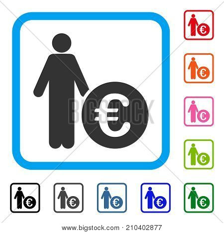 Euro Investor icon. Flat grey iconic symbol inside a light blue rounded frame. Black, gray, green, blue, red, orange color additional versions of Euro Investor vector.