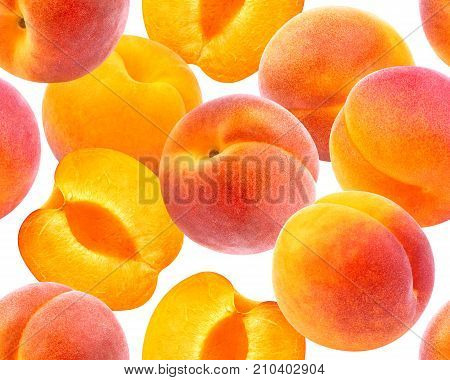 Peach seamless pattern. Ripe peaches isolated on white background with clipping path