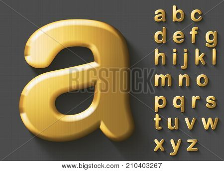 Set of golden luxury 3D lowercase english letters. Golden metallic shiny bold font on grey background. Good typeset for wealth and jewel concepts. Transparent shadow, EPS 10 vector illustration.