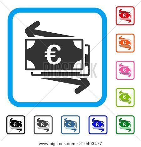 Euro Money Transfer icon. Flat grey iconic symbol inside a light blue rounded squared frame. Black, gray, green, blue, red, orange color variants of Euro Money Transfer vector.