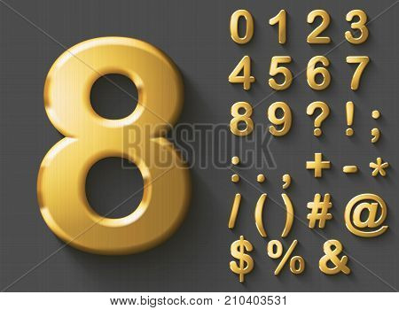 Set of golden luxury 3D Numbers and Characters. Golden metallic shiny bold symbols on grey background. Good set for wealth and jewel concepts. Transparent shadow, EPS 10 vector illustration.