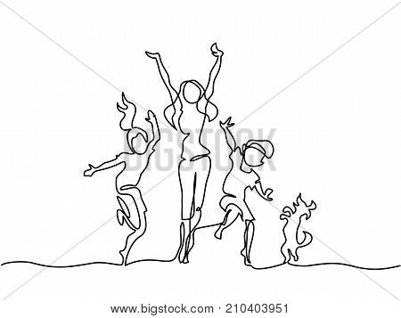 Continuous line drawing. Happy mother dancing with children and dog. Vector illustration. Total editable, choose thickness and place of line