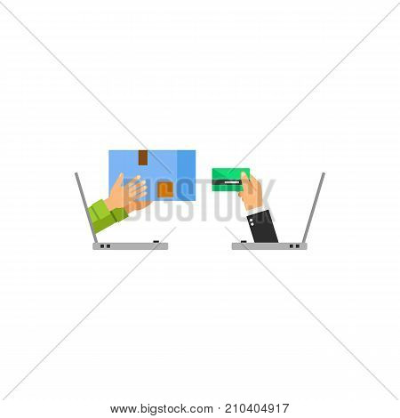 Human hands sticking out of laptops and holding pack and credit card. Internet store, customer, order. E-commerce concept. Can be used for topics like business, retail, electronic payment.