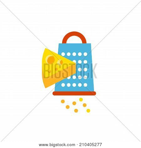 Grating cheese vector icon. Ingredient, foodstuff, meal. Food concept. Can be used for topics like cooking, pizza, cuisine.