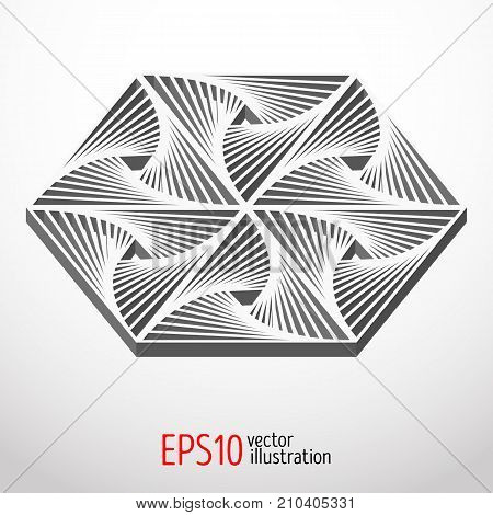 Hexagonal 3d design Sacral geometry Mystery shape.