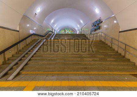 ALMATY, KAZAKHSTAN - AUGUST 12, 2016: interior of metro station in Almaty Kazakhstan