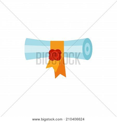 Magic scroll with gold ribbon. Bewitchment, magic spell, sheet of paper. Halloween concept. Can be used for topics like celebration, party, playing.