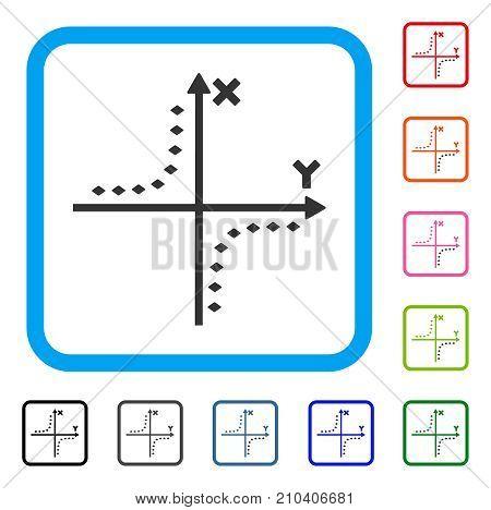 Dotted Hyperbola Plot icon. Flat grey pictogram symbol inside a light blue rounded rectangular frame. Black, gray, green, blue, red, orange color versions of Dotted Hyperbola Plot vector.