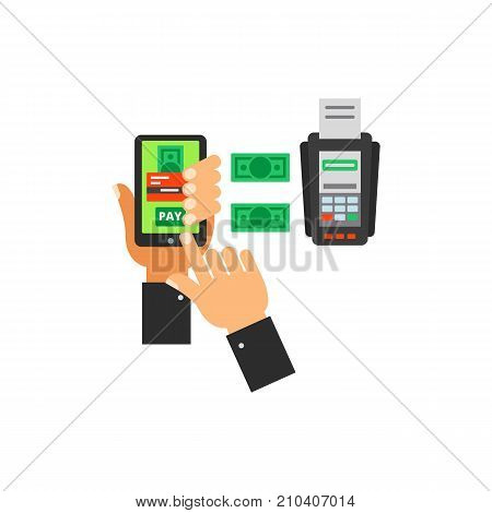 Scheme of payment with smartphone, money and credit card machine. Mobile technology, online payment, Internet. E-commerce concept. Can be used for topics like Internet shopping, retail, electronic payment.