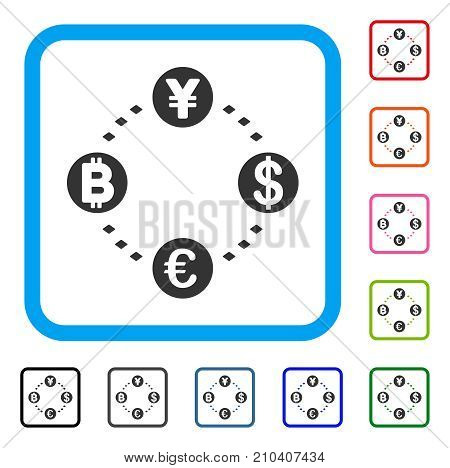 Financial Circular Relations icon. Flat gray iconic symbol inside a light blue rounded squared frame. Black, gray, green, blue, red, orange color variants of Financial Circular Relations vector.