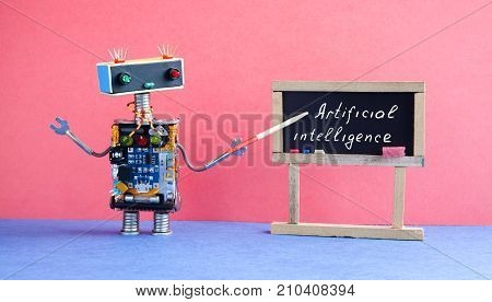 Artificial intelligence concept. Robot teacher explains modern theory. Classroom interior with handwritten quote on black chalkboard. Pink blue colorful background.