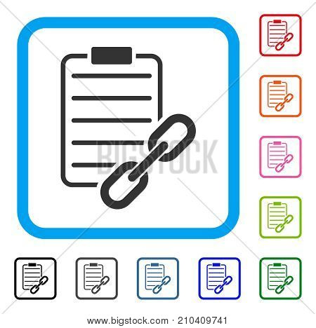 Blockchain Contract icon. Flat gray iconic symbol in a light blue rounded square. Black, gray, green, blue, red, orange color variants of Blockchain Contract vector.