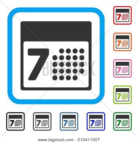 Calendar Week icon. Flat gray pictogram symbol inside a light blue rounded rectangle. Black, gray, green, blue, red, orange color additional versions of Calendar Week vector.