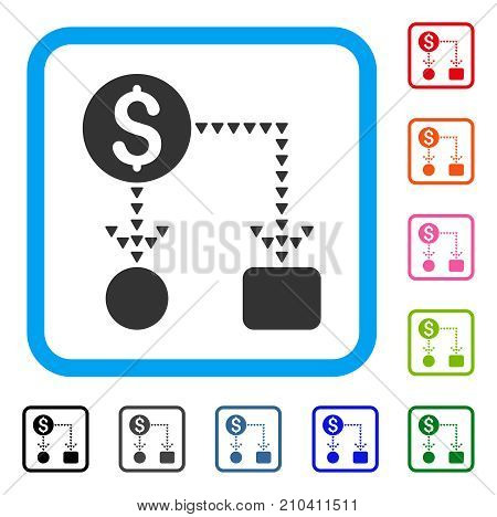 Cashflow Scheme icon. Flat grey iconic symbol in a light blue rounded squared frame. Black, gray, green, blue, red, orange color additional versions of Cashflow Scheme vector.